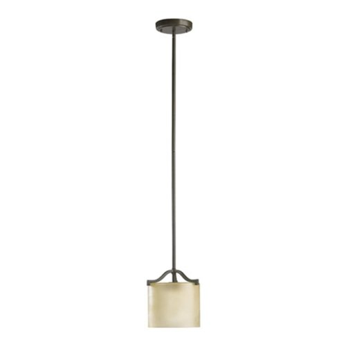 Quorum International 3096-86 Atwood Collection 1-Light Mini-Pendant, Oiled Bronze Finish with Amber Scavo Glass - Forged Bronze Six Light Pendant