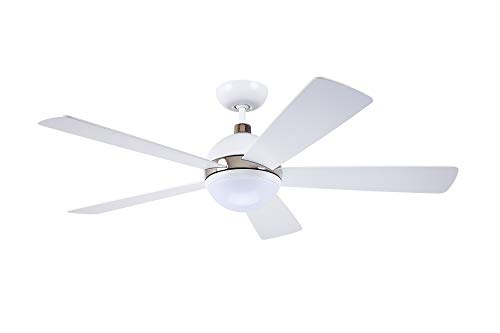 Emerson CF235SW Protruding Mount, 5 black Blades Ceiling fan with 18 watts light, Satin White