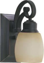 Quorum 5411-1-95 One Light Wall Bracket, Old World Finish with Antique Amber Scavo Glass