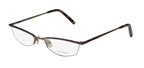 Vera Wang V106 Womens/Ladies Prescription Ready High-class Designer Half-rim Eyeglasses/Spectacles (50-18-135, Sand / Havana)