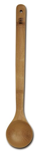 Joyce Chen 33-2050, Burnished Bamboo Wide Bowl Spoon, 15-Inch Bamboo Wide Bowl Spoon