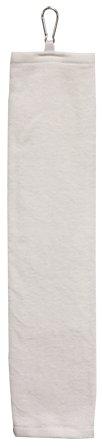 16x24 Tri Fold 100% Cotton Velour Dobby Hemmed White Hand Towel with Carabiner Case Pack 144 (Velour Tri Towel Fold)