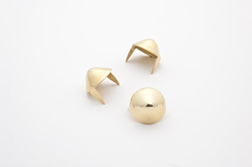 Cone Studs - Size 11 - Ideally used for Denim and Leather Work - Classic Two-Prong Studs - Brass - Pack of 100 studs and spikes