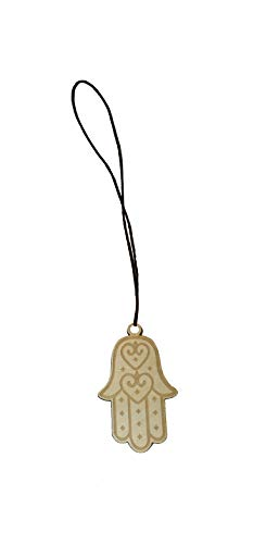 Hamsa Hand of Fatima Laser Engraved Wooden Rear View Mirror Car Charm Dangler
