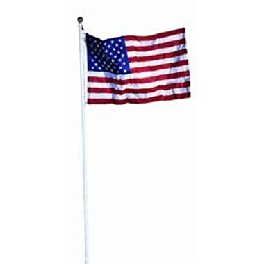 Valley Forge 18-Foot In Ground Steel Flag Pole With 3-Foot x 5-Foot Polycotton Flag