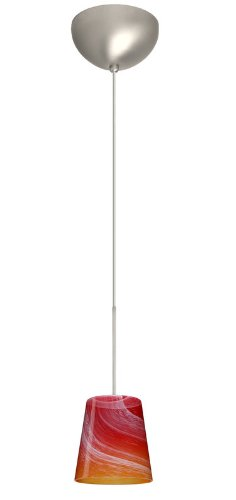 Besa Lighting 1XC-5131SL-SN 1X50W Gy6.35 Canto 5 Pendant with Solare Glass, Satin Nickel Finish