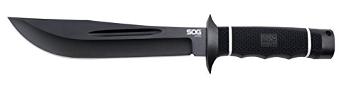 "SOG Creed Fixed Blade CD02-L - Black TiNi 7.5"" Blade, TPR Handle, Leather Sheath"