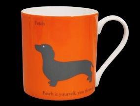 (Large Silhouette Orange Dachshund Dog Bone China Mug. Fetch.. Fetch It Yourself - Stoke on Trent, England)