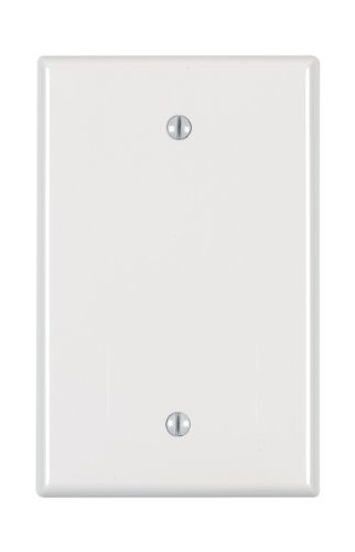 Leviton PJ13-W 1-Gang Blank Wallplate, Midway Size, - Midway Outlet