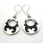 Gifts With Humanity MJEBLK-229037 Goth Alpaca Silver Black Inlay Earrings