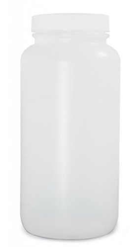 Qorpak PLC-03549 HDPE Collared Wide Mouth Round Bottle with 89-400 White PP SturdeeSeal PE Foam Lined Cap, 3840 mL, Natural (Pack of 4)