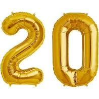 Sky Shot Made in India 16″ Inch 20 Year Golden Foil Balloon / 20 Number Digit Helium Foil Balloon for Party Decoration /Twenty No. Gold Balloon – Pack of 2.