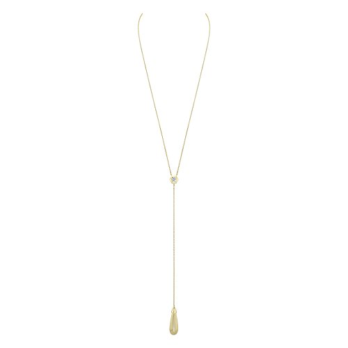 CHARLIZE GADBOIS Sterling Silver White Topaz Lariat Y Necklace, Gold Plated (0.48 ct), up to 20