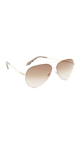 Victoria Beckham Women's Classic Victoria Feather Light Aviator Sunglasses, Gold/Brown, One - Aviator Victoria Sunglasses Beckham