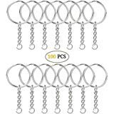 kingforest 100PCS Split Key Ring with Chain and Jump Rings, Nickel Plated Split Key Ring with Chain Silver Color Metal Split Key Chain Ring Parts with 1inch/25mm Open Jump Ring and Connector (Best Material For Ring)