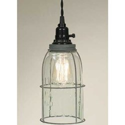 (Pendant Lamp, Rustic Open Bottom Caged Quart Mason Jar, Galvanized)