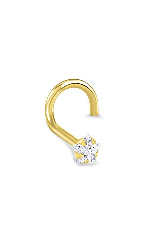 - 14k Yellow Gold Nose Ring Screw 3mm Star CZ 22G