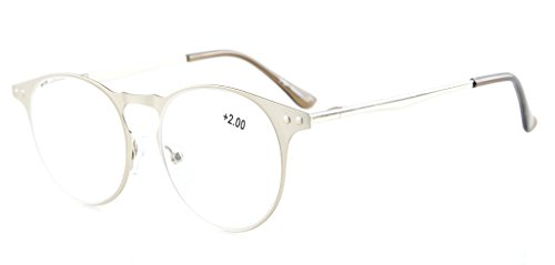 Eyekepper Readers Quality Metal Frame Spring Temples Round Reading Glasses Silver - Bifocal Silver Readers