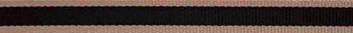 Berisford 15mm Oatmeal Stripe Ribbon Black - per 15 metre roll