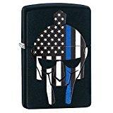 Zippo Gladiator Blue Line Black Matte Pocket Lighter