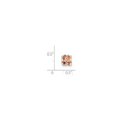 Diamond2Deal 14k Rose Gold Diamond-cut Mini Plumeria Barrel Chain Slide - Chain Barrel Slide