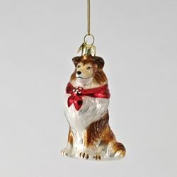 Shetland Sheepdog Christmas Ornament (Kurt Adler Shetland Sheep Dog Noble Gems Collection Glass Ornament)