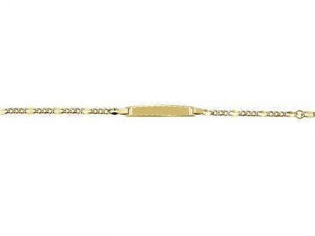 VIGO - Bracelet Identite bebe Or Jaune 18 carats - Maille fantaisie - 14 cm - anneau souple a 12 cm - www.diamants-perles.com