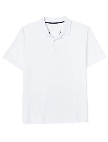 Amazon Essentials Men's Big and Tall Quick-Dry Golf Polo Shirt, White, 4X Tall -