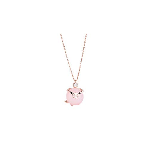 ( Orcbee  _Cute Pig Crystal Pendant for Women Lady Girls The Birth Year Necklace Gift for Birthday)