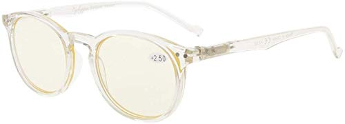 Eyekepper Retro Oval Round Computer Glasses Spring-Hinges Computer Eyeglasses Clear Frame (Yellow Lens, 0.00)