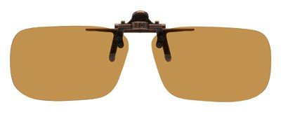 "Polarized Clip on Flip up Plastic Sunglasses, Large Tru Rectangle, 60mm or 2-23/64"" Wide X 38mm or 1.50"