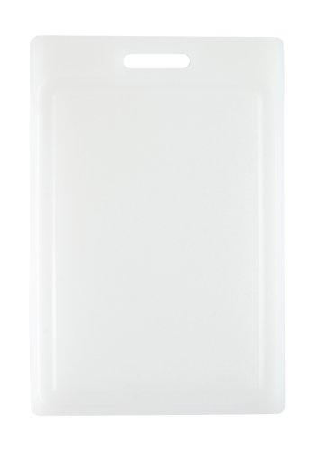 Dexas Antimicrobial NSF Polysafe Cutting Board with Handle and Well, 12 by 18 inches, White