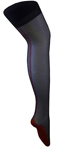 Black with Red Seam Retro Style Sheen Seam Burlesque Non Hold-Up Suspender Stockings (Medium, Black/Red)