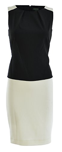 Lauren Ralph Lauren Women's Two Toned Stretch Crepe Dress 4 White/Black (Ralph Lauren-objektive)