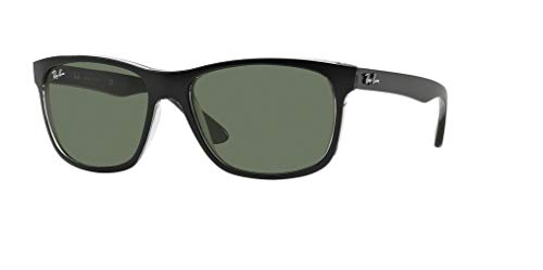 Ray-Ban RB4181 6130 57M Top Matte Black On Transparent Grey/Green Sunglasses For Men For ()