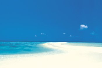 White Sandy Beach Decorative Tropical Scenic Travel Photography Poster Print 24X36