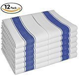 "Kitchen DISH TOWELS - Set of 12 With Loop ( 100% Cotton Large 28""x20"" ) - Longer Lasting, Super Absorbent In Vintage White with Blue Stripes - Unique Herringbone Design For Faster Drying & Low Lint..."
