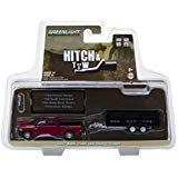 2017 Dodge Ram 2500 Pickup Truck Red and Black Double Axle Dump Trailer Hitch & Tow Series 14 1/64 Diecast Models by Greenlight 32140 D