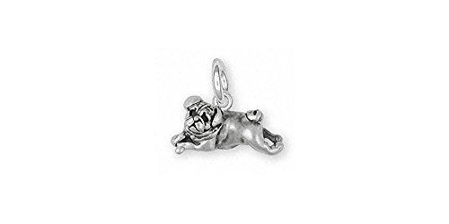 Pug Jewelry Sterling Silver Pug Charm Handmade Dog Jewelry PG30-C (Pug Silver Sterling)