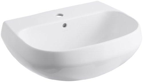 KOHLER K-2296-1-0 Wellworth Bathroom Sink Basin with Single-Hole Faucet Drilling, White ()