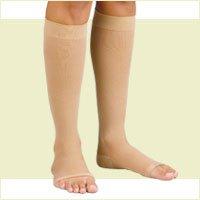 Fla Orthopedics Soft Fit 20-30 mmHg Knee High with Open Toe Stockings, Beige, XX-Large