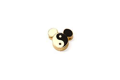 BRACCIALE DISNEY YING YANG MICKEY MOUSE HEAD STAINLESS STEEL GOLD PLATED CHARM