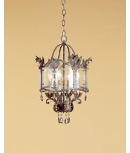 Currey and Company 9357 Zara 4-Light Pendant, Viejo Gold and Silver Finish with Smoked Crystal Accents and Seeded Glass Panels (Main Furniture Cottage)