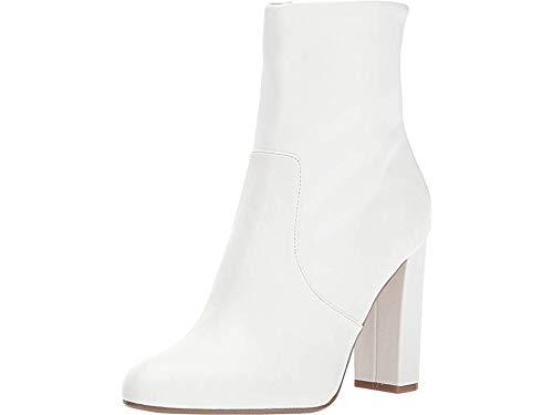 Steve Madden Women's Editor Ankle Boot, White Leather, 9 M US