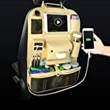 Automobile Rear Storehouse Suitcase - Functional Leather Car Seat Storage Bag Organizer Pad Phone Bottle Holder Usb Charging Port - Railroad Buttock Bulge Sit Cup Tea - 1PCs