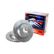BAER 05593-020 Sport Rotors Slotted Drilled Zinc Plated Front Brake Rotor Set - Pair
