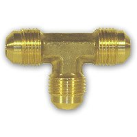 Brass T Union Fitting Connector Tee Tube Fitting, Flare 3/8