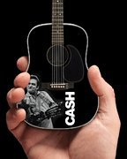 Johnny Cash - Signature Black Acoustic Guitar Model (Middle Finger) - Miniature Guitar Replica Collectible - SongBook