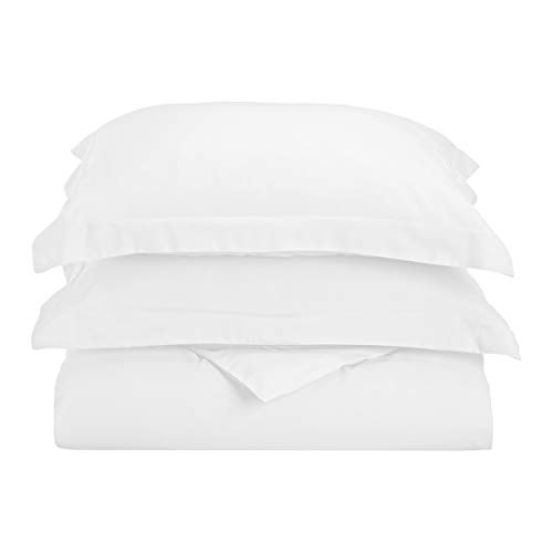 Superior 1500 Series Premium Quality 100% Brushed Soft Microfiber Duvet Cover Set with Pillow Shams, Silky Soft and Luxurious Bedding, Wrinkle and Stain Resistant - Full/Queen, White (Brushed Polyester Cover)