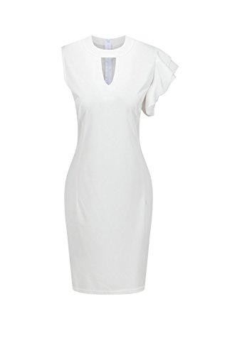 Elegant hueco de las mujeres Mini Bodycon Vestido White